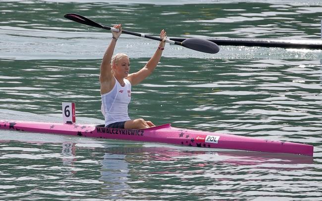 Marta Walczykiewicz of Poland celebrates gold in the Kayak Single (K1) 200m women's Canoe Sprint final of the 2015 European Games, in Mingachevir, about 300 kilometres west of Baku, Azerbaijan, 16 June 2015. EPA/MAXIM SHIPENKOV