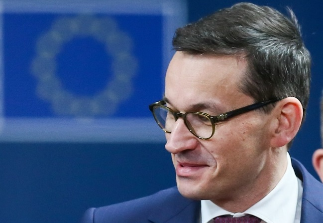Polish Prime Minister Mateusz Morawiecki in Brussels. Photo: EPA/STEPHANIE LECOCQ