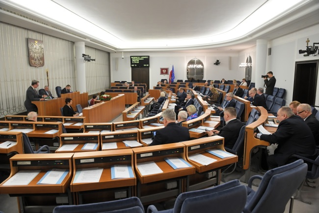 The upper house of Poland's parliament, the Senate, is in session in Warsaw on Friday. Photo: PAP/Radek Pietruszka