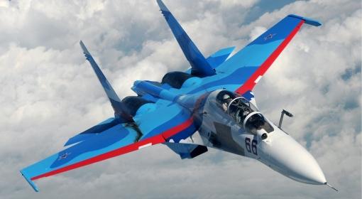 Rosyjski myśliwiec Su 30. Zdjęcie ilustracyjne.