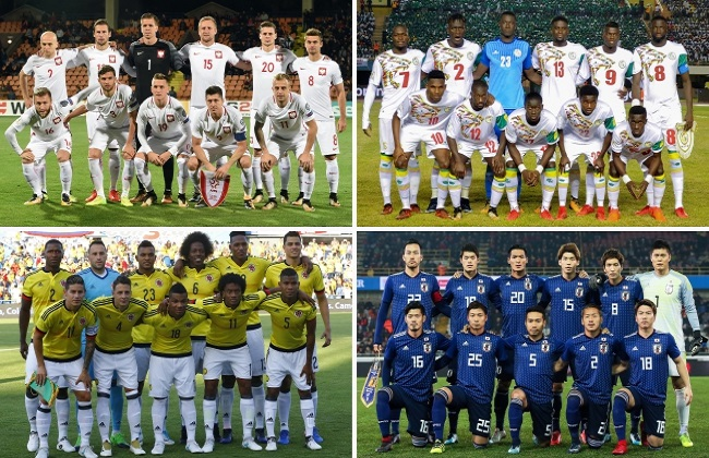 Poland (top left) and their Group H rivals: Senegal (top right), Colombia (bottom left), and Japan (bottom right). Photo: EPA/DESK