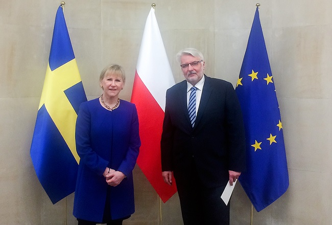 Polish Foreign Minister Witold Waszczykowski with his Swedish counterpart Margot Wallström. Photo: MSZ