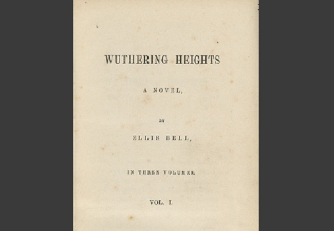 "Title page for the first volume of the first edition of ""Wuthering Heights"", published in 1847 under the pseudonym Ellis Bell. Photo: Wikimedia Commons/Houghton Library, Harvard University. (Public Domain)"