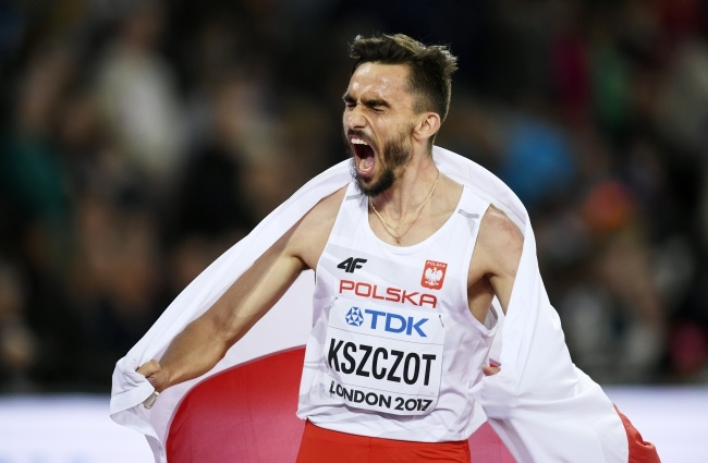 Adam Kszczot of Poland celebrates after placing second in the men's 800m final at the 2017 IAAF World Championships in London. Photo: EPA/FRANCK ROBICHON.
