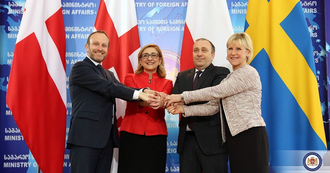 From left: Foreign Ministers Martin Lidegaard (Denmark), Tamar Beruchashvili (Georgia), Grzegorz Schetyna (Poland) and Margot Wallström (Sweden) in Tbilisi, April 2015. Photo courtesy: Georgia MFA