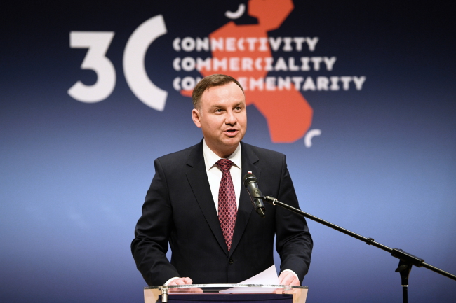 Andrzej Duda addresses the Three Seas forum. Photo: PAP/Darek Delmanowicz