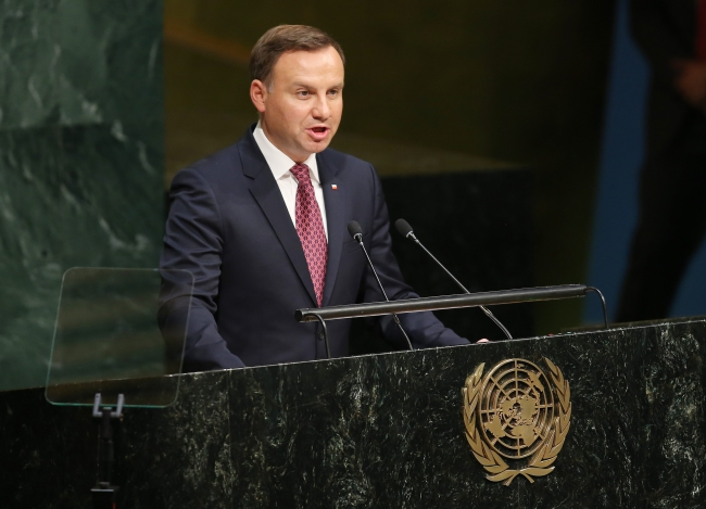 Polish President Andrzej Duda speaks during the the 70th session of the United Nations General Assembly at United Nations headquarters in New York. Photo: EPA/MATT CAMPBELL