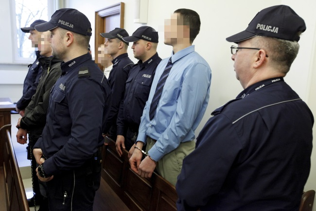 The three suspects in court (faces blanked out). Photo: PAP/Artur Reszko