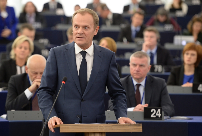 European Council President Donald Tusk from Poland speaking at the plenary session in the European Parliament in Strasbourg, France, 13 January 2015. EPA/PATRICK SEEGER