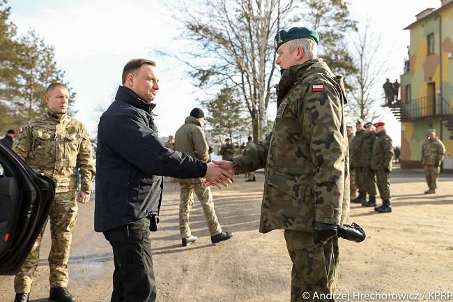 Polish President Andrzej Duda in Żagan on Monday. Photo: KPRP