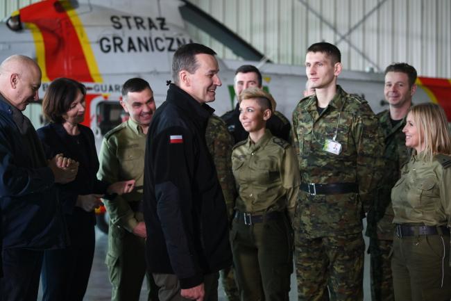 Прем'єр-міністр Польщі Матеуш Моравєцький на зустрічі з прикордонниками, 9 лютого 2019 року