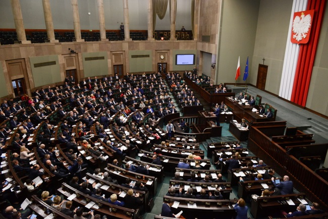 The lower house of Poland's parliament in session on Friday. Photo: PAP/Jakub Kamiński