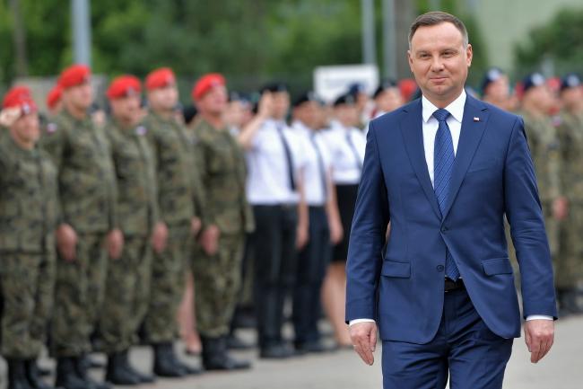 Andrzej Duda at a military police base in Mińsk Mazowiecki, east of Warsaw. Photo: PAP/Przemysław Piątkowski