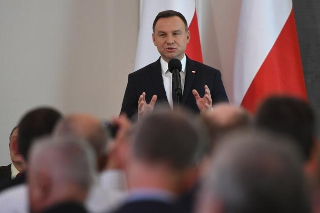 President Andrzej Duda speaks at the Warsaw conference on Thursday. Photo: PAP/Bartłomiej Zborowski
