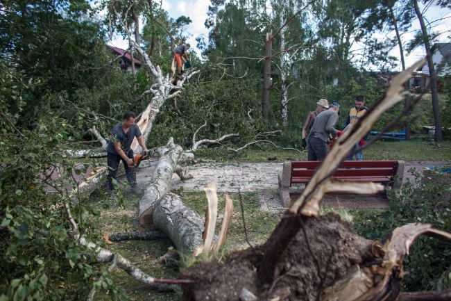 Cleanup effort after a series of severe storms that hit Poland overnight from Aug. 11 to 12, 2017; village of Rytel, northern Pomorskie province. Photo: PAP/Jan Dzban