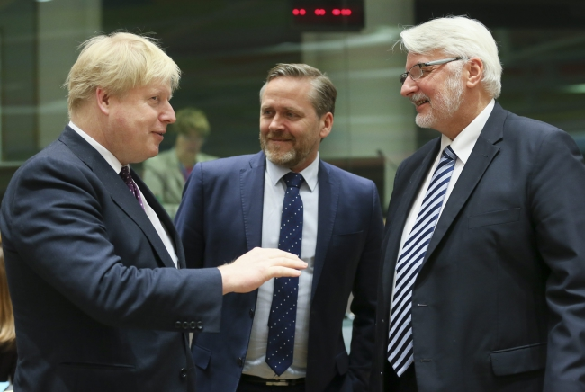 British Foreign Secretary Boris Johnson, Danish Foreign Minister Anders Samuelson and Polish Foreign Minister Witold Waszczykowski. Photo: EPA/Olivier Hoslet.
