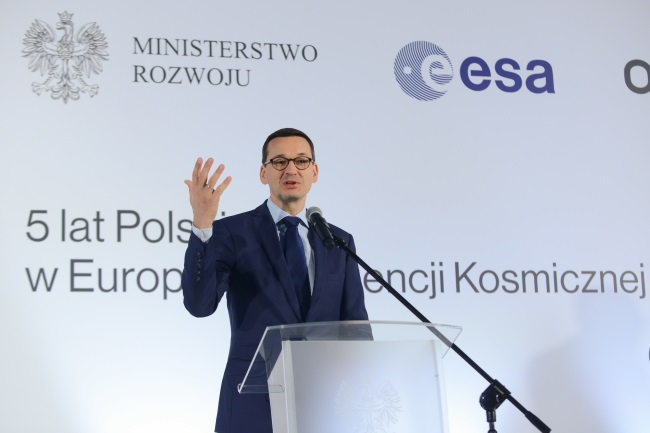 Morawiecki speaks at the Warsaw conference on Tuesday. Photo: PAP/Jakub Kamiński