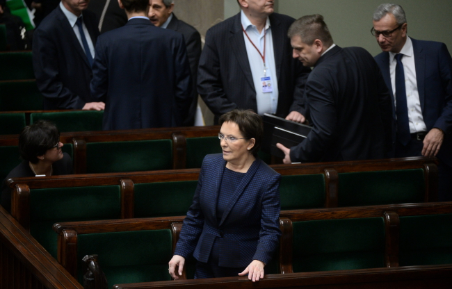 Prime Minister Ewa Kopacz of the centre-right Civic Platform party following voting on the ratification of the convention. Photo: PAP/Bartłomiej Zborowski
