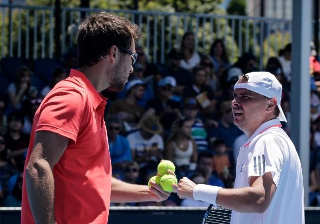 Jerzy Janowicz and Marcin Matkowski. Photo: EPA/Mark R. Cristino.