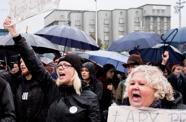 Protestors in Katowice, southern Poland. PAP/Andrzej Grygiel