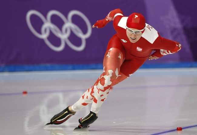 Poland's Natalia Czerwonka in action during the women's speed skating 1,000 m competition at the Gangneung Oval during the Pyeongchang 2018 Olympic Games, South Korea, on Wednesday. Photo: EPA/KIMIMASA MAYAMA