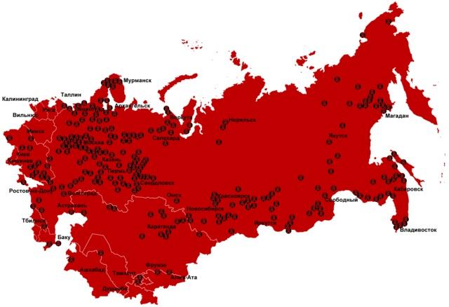 Мапа лягераў ГУЛАГ у СССР 1923-1961 гг.