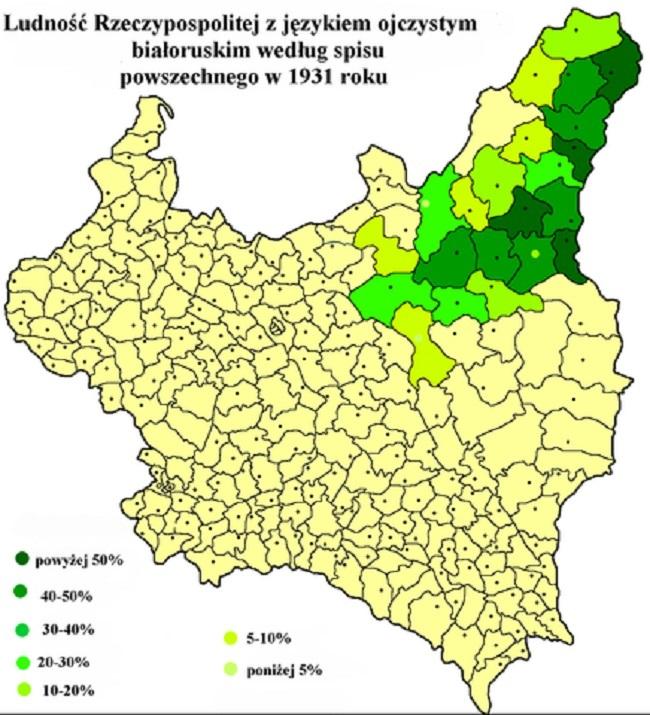 Насельніцтва Рэчы Паспаліта, якія роднай мовай назвалі беларускую, 1931 г.