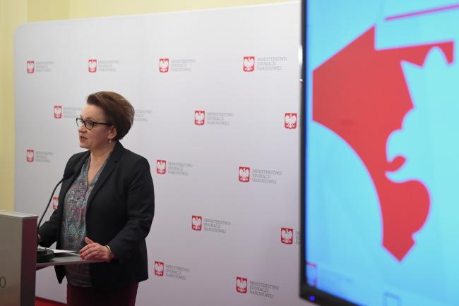 Anna Zalewska announces initiatives for schools to mark Poland's independence centenary. Photo: PAP/Radek Pietruszka