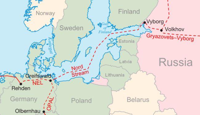 """Карта газопровода """"Северный поток""""."""