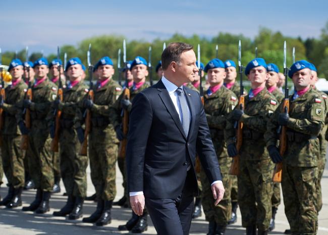 Polish President Andrzej Duda at Redzikowo on Friday. Photo: PAP/Adam Warżawa