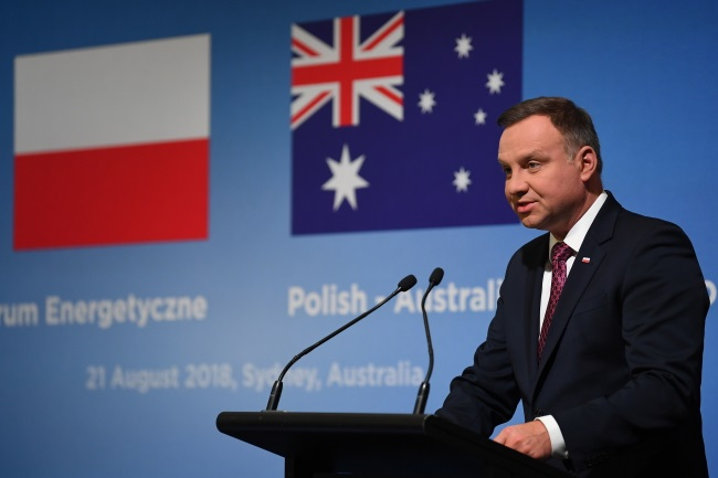 President Andrzej Duda speaks at the Polish-Australian Energy Forum in Sydney on Tuesday. Photo: EPA/DEAN LEWINS