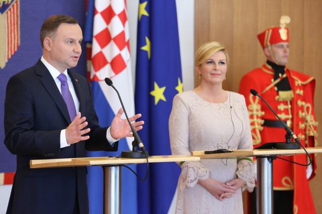 Andrzej Duda and Croatian President Kolinda Grabar-Kitarović in Zagreb. Photo: PAP/Leszek Szymański