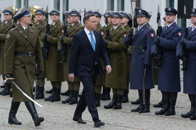 Президент Польши Анджей Дуда на торжественном открытии совещания Министерства национальной обороны и Вооруженных сил.