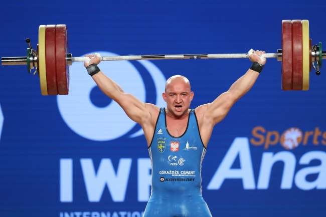 Krzysztof Zwarycz during the men's 85kg weight-class Clean and Jerk competition at the Weightlifting World Championships at Anaheim, California, US, on Sunday. Photo: EPA/MIKE NELSON