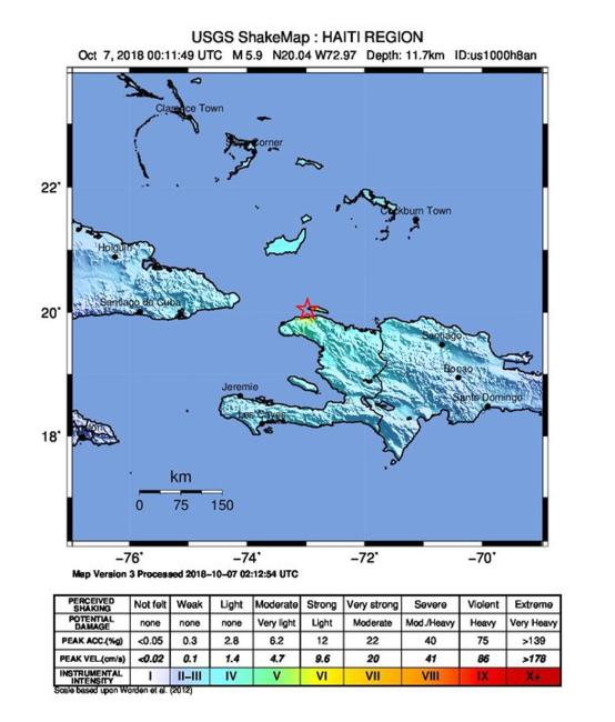 Мапа Гаіці з пазначаным эпіцэнтрам землятрусу
