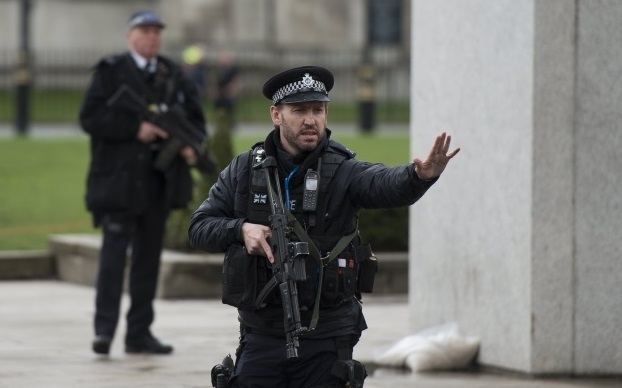 Armed police following major incidents outside the Houses of Parliament in central London