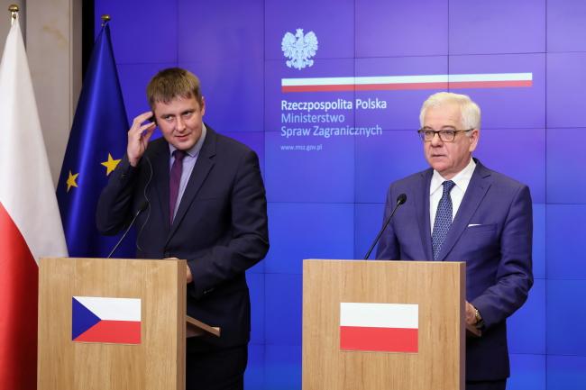 Главы МИД Чехии и Польши Томаш Петржичек и Яцек Чапутович