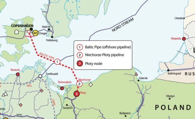 Карта, представляющая планы строительства Baltic Pipe.