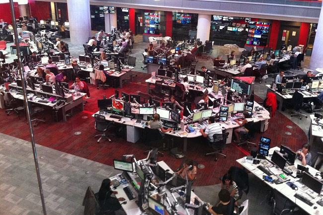 The BBC newsroom. Photo: Wikimedia Commons