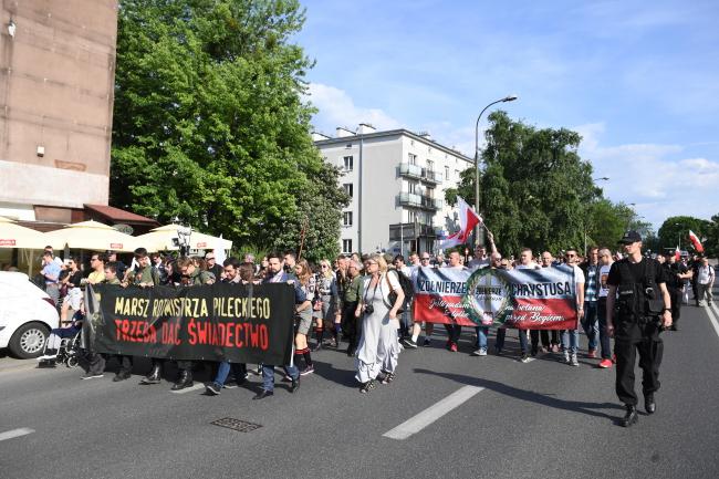 Marchers honour Witold Pilecki in Warsaw. Photo: PAP/Radek Pietruszka