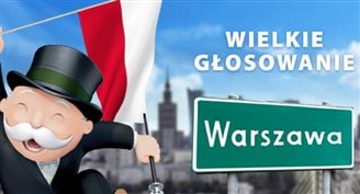 Warsaw on anniversary Monopoly board