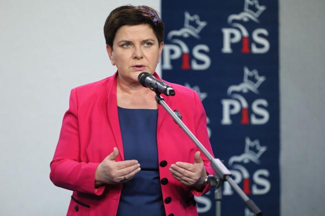 """Вице-премьер Беата Шило во время пресс-конференции в штаб-квартире """"Права и справедливости"""" в Варшаве"""