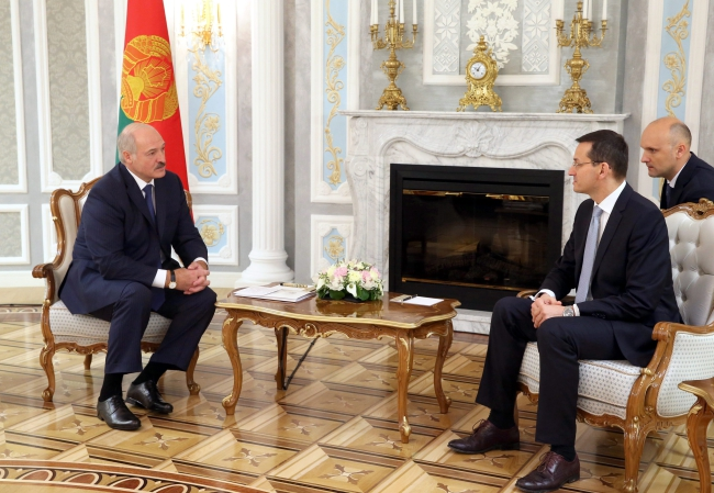 Alexander Lukashenko and Mateusz Morawiecki in Minsk. Photo:PAP/EPA/NIKOLAI PETROV/POOL.