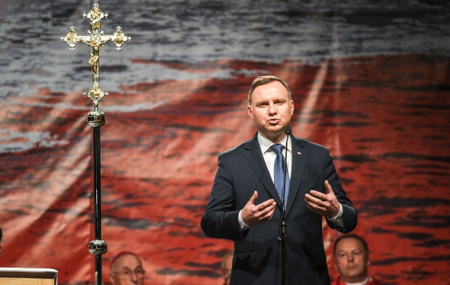 President Andrzej Duda speaks during a religious service commemorating the Blessed Father Jerzy Popiełuszko in the the north-central city of Włocławek on Thursday. Photo: PAP/Paweł Skraba