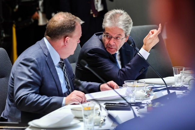 Danish Prime Minister Lars Lokke Rasmussen (left) pictured during the second day of the European Council meeting in Brussels, Belgium, on Friday. Photo: EPA/GEERT VANDEN WIJNGAERT