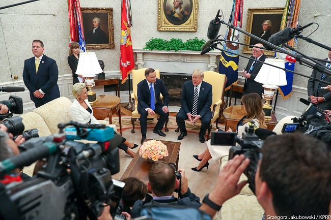 Andrzej Duda and Donald Trump meet at the White House on September 18, 2018.