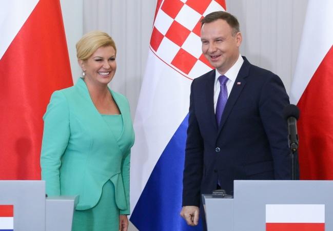 Croatian President Kolinda Grabar-Kitarović and Polish President Andrzej Duda. Photo: PAP/Paweł Supernak.