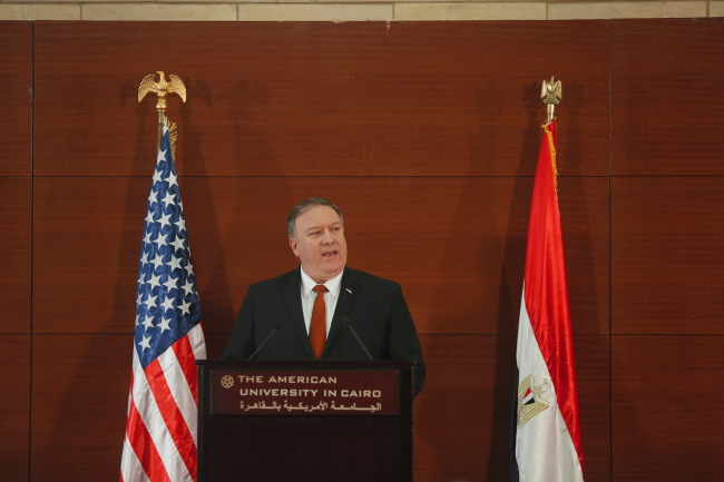 S Secretary of State Mike Pompeo speaks during his visit at the American University in Cairo, Egypt. Photo: PAP/EPA.