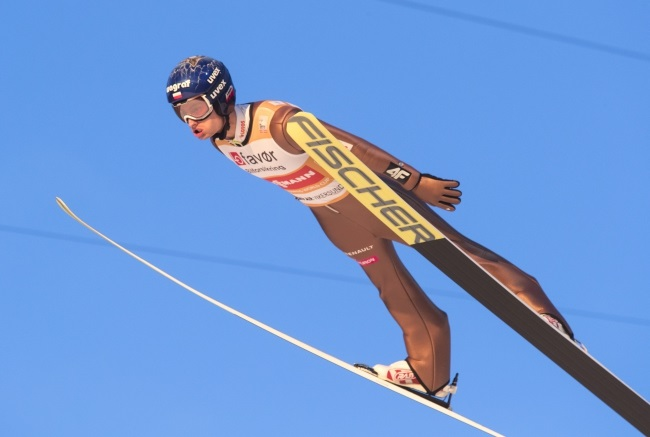 Maciej Kot of Poland in action during the FIS Ski Jumping World Cup, Men´s Team HS225 in Vikersund, Norway. Photo: EPA/Terje Bendiksby