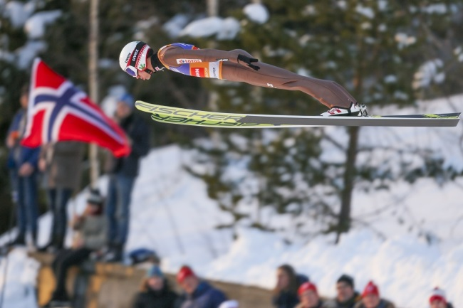 Kamil Stoch of Poland in action during the FIS World Cup Raw Air Ski Jumping Large Hill Individual Competition in Lillehammer, Norway, on Tuesday. Photo: EPA/Geir Olsen